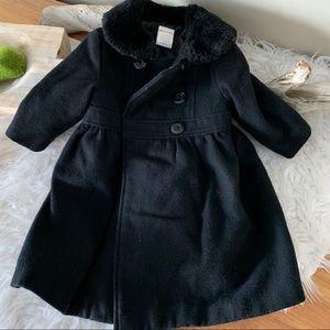 Black pea coat with fur trim